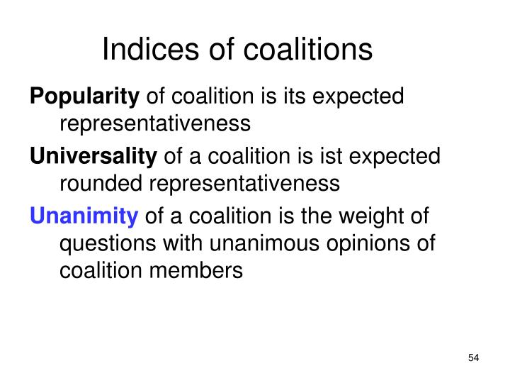 Indices of coalitions