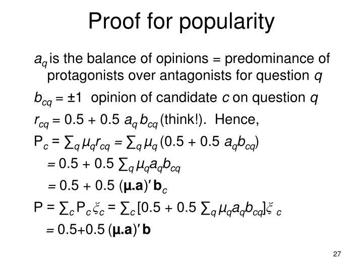Proof for popularity