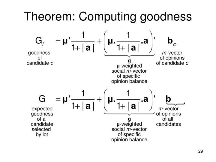 Theorem: Computing goodness
