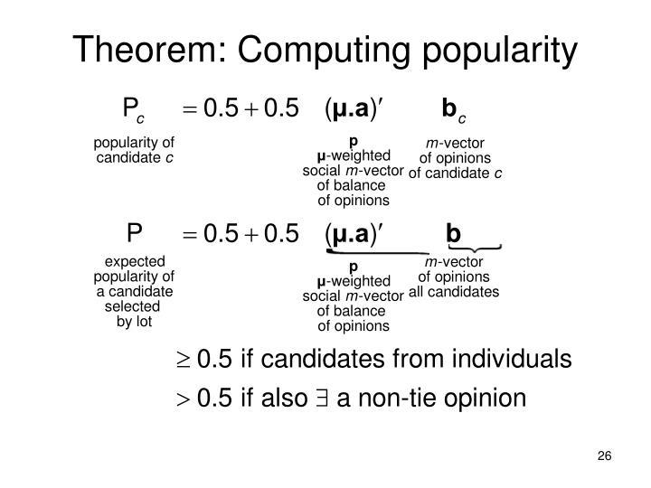 Theorem: Computing popularity