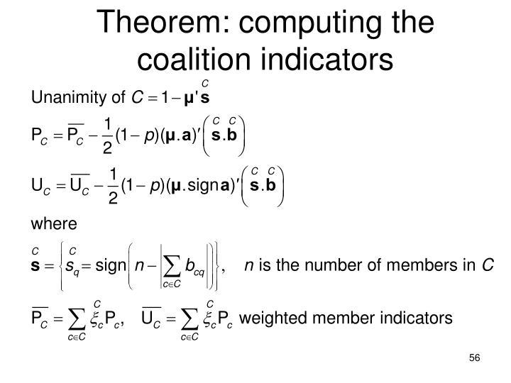 Theorem: computing the coalition indicators