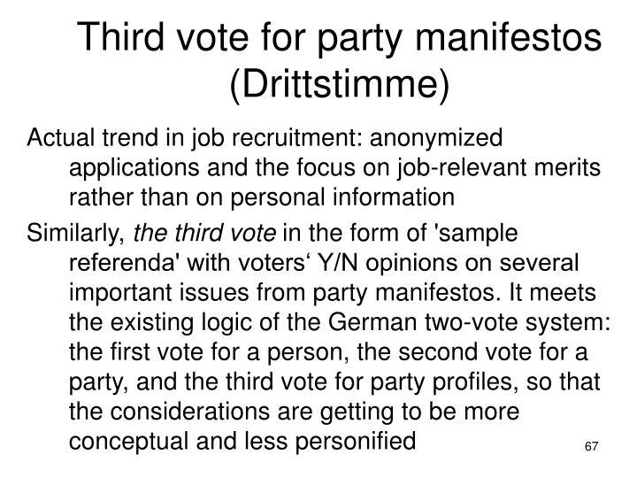Third vote for party manifestos (Drittstimme)