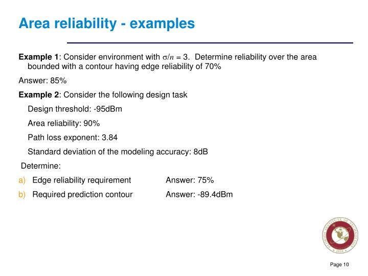 Area reliability - examples
