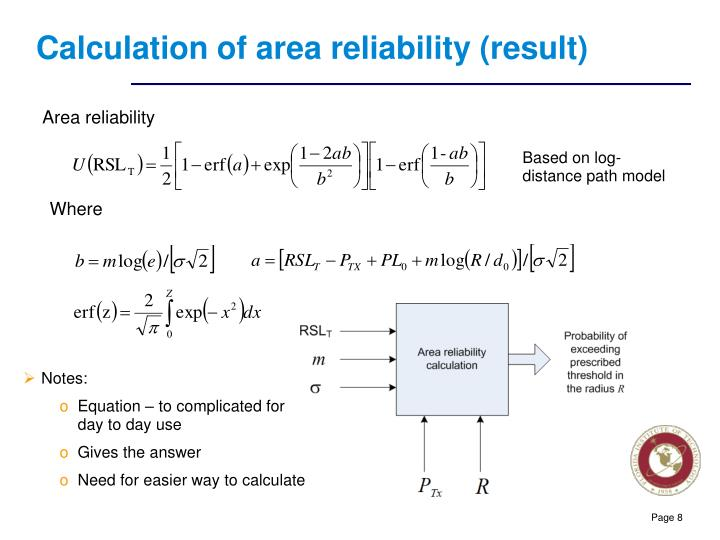 Calculation of area reliability (result)