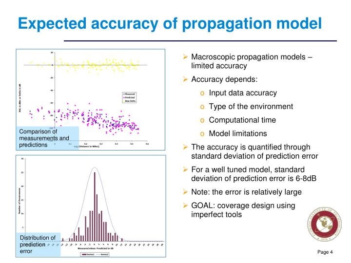 Expected accuracy of propagation model