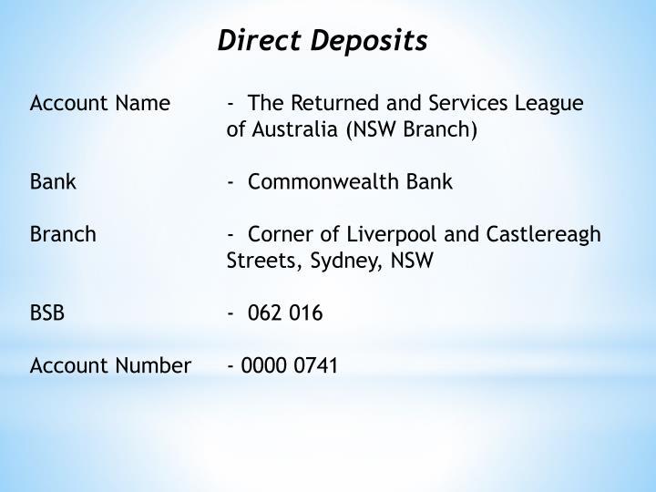 Direct Deposits