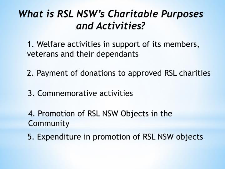 What is RSL NSW's Charitable Purposes