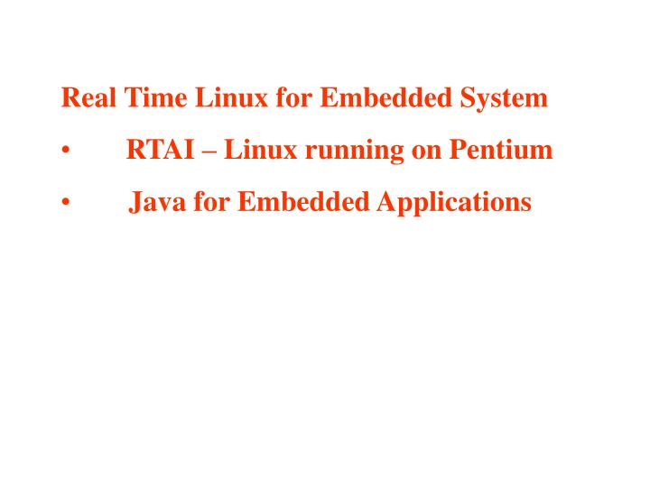 Real Time Linux for Embedded System