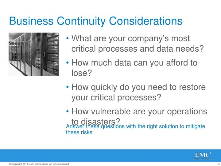 Business Continuity Considerations