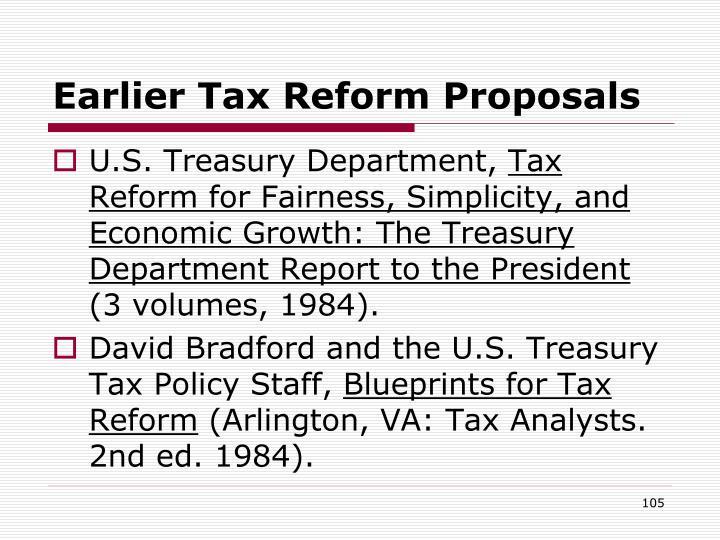 Earlier Tax Reform Proposals
