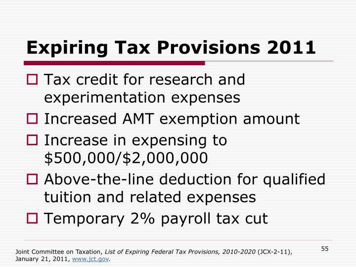 Expiring Tax Provisions 2011