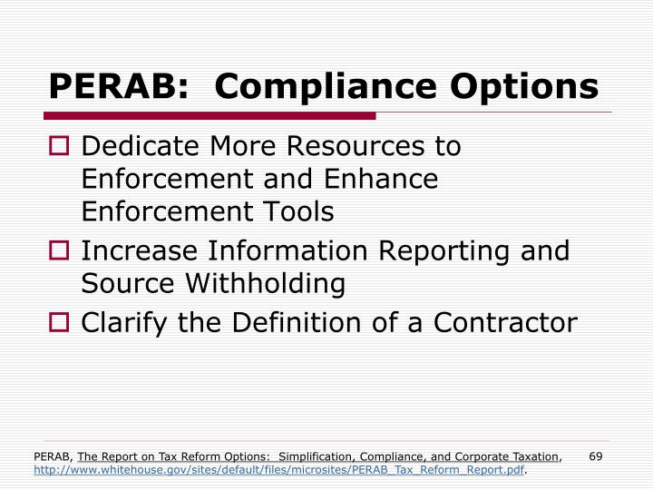 PERAB:  Compliance Options