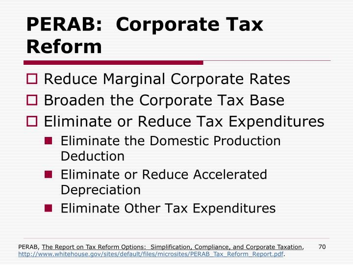 PERAB:  Corporate Tax Reform