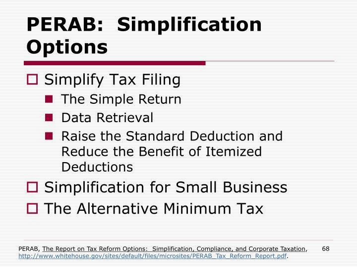 PERAB:  Simplification Options