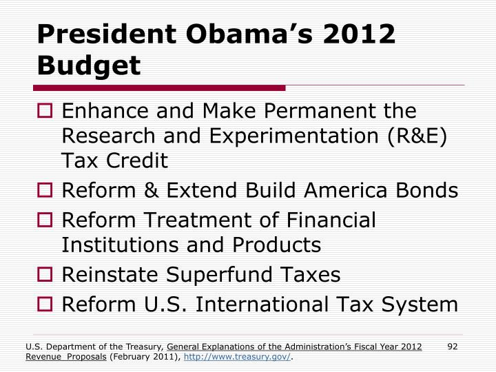 President Obama's 2012 Budget