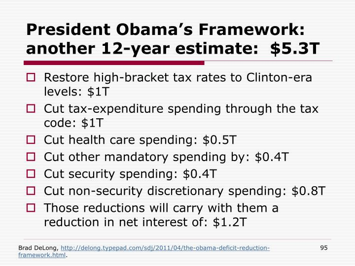President Obama's Framework: another 12-year estimate:  $5.3T