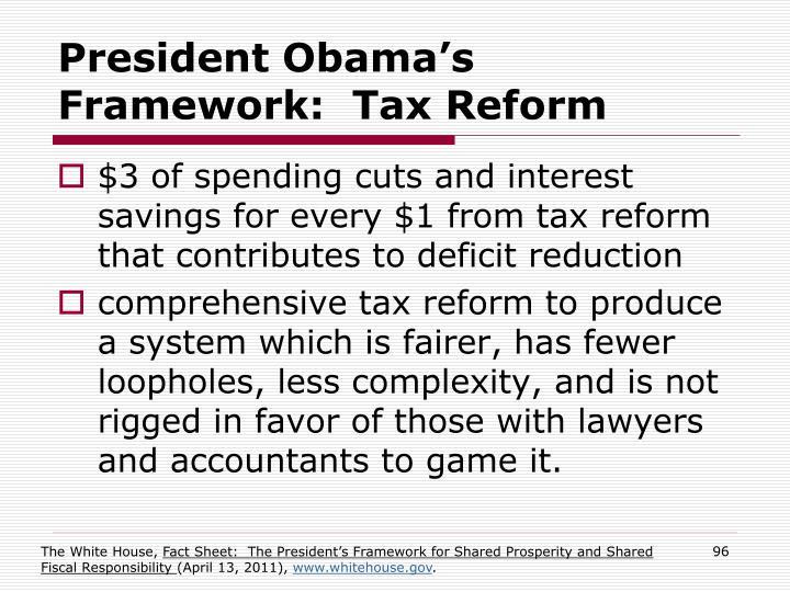 President Obama's Framework:  Tax Reform