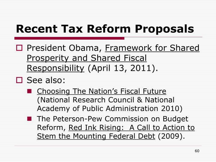 Recent Tax Reform Proposals