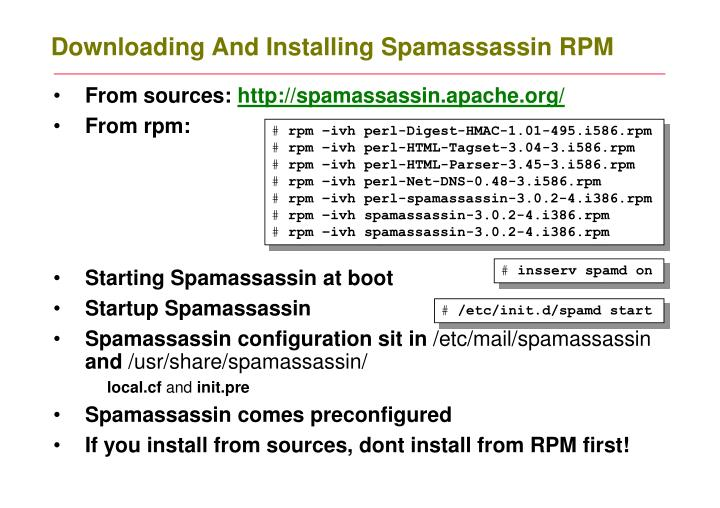 Downloading And Installing Spamassassin RPM