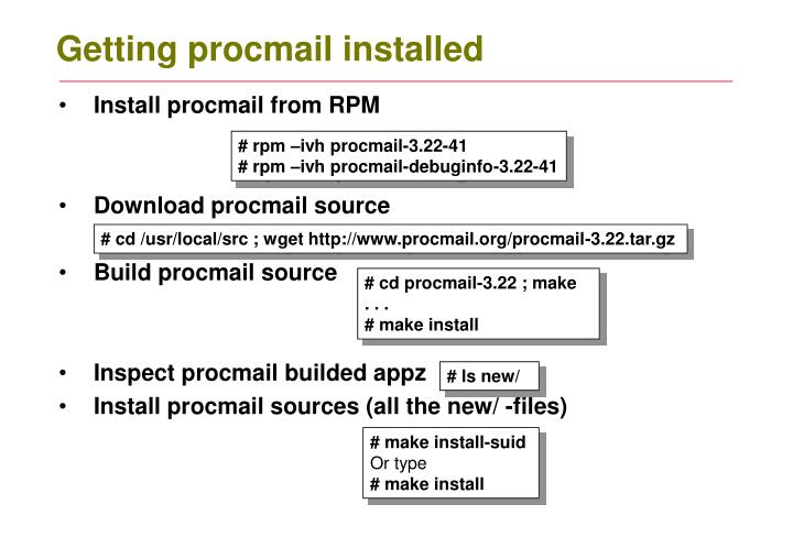 Getting procmail installed