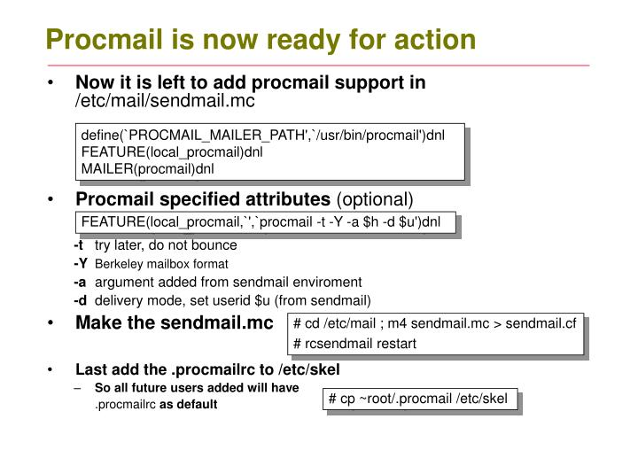 Procmail is now ready for action