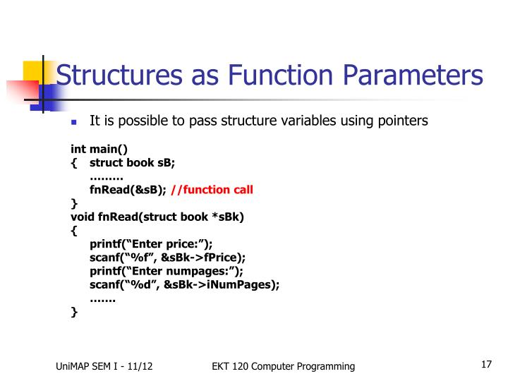 Structures as Function Parameters