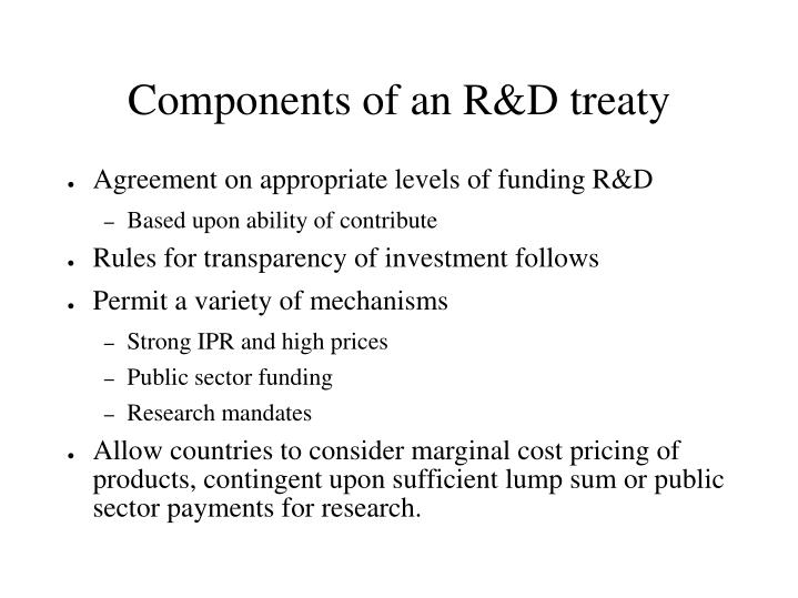 Components of an R&D treaty