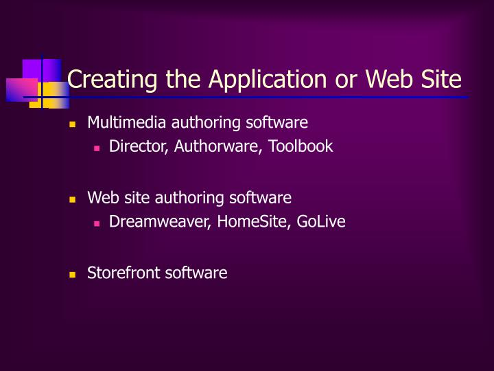 Creating the Application or Web Site