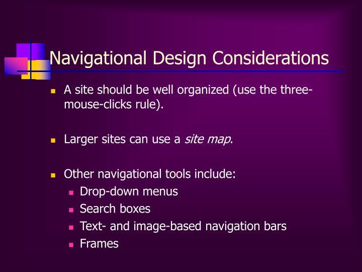 Navigational Design Considerations
