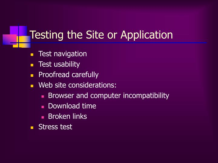 Testing the Site or Application