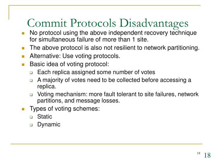 Commit Protocols Disadvantages