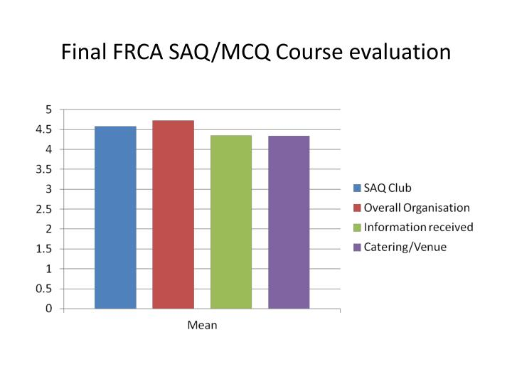Final FRCA SAQ/MCQ Course evaluation
