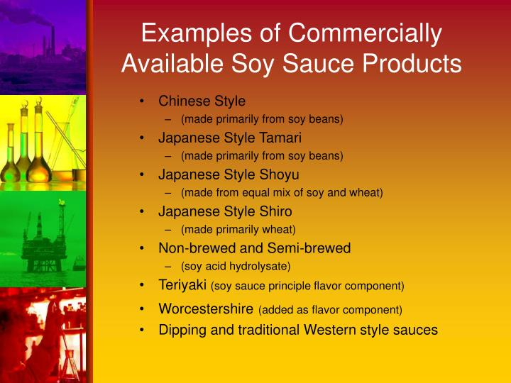 Examples of commercially available soy sauce products