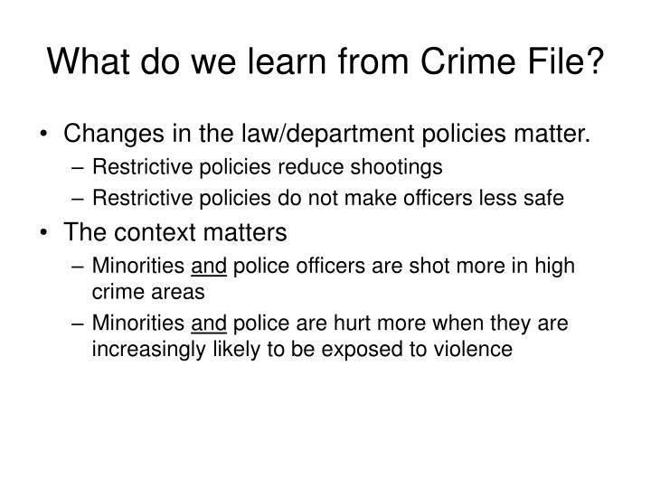 What do we learn from Crime File?