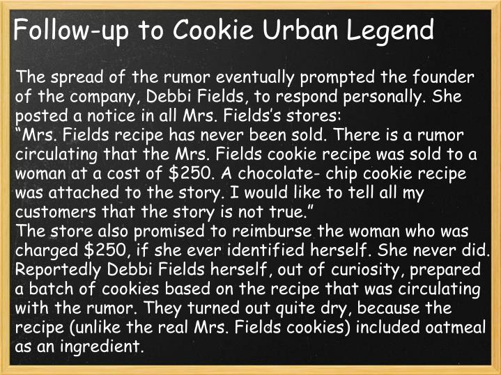 Follow-up to Cookie Urban Legend