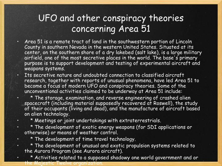 UFO and other conspiracy theories concerning Area 51