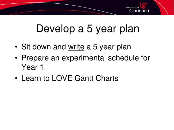 Develop a 5 year plan