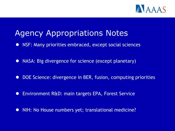 Agency Appropriations Notes