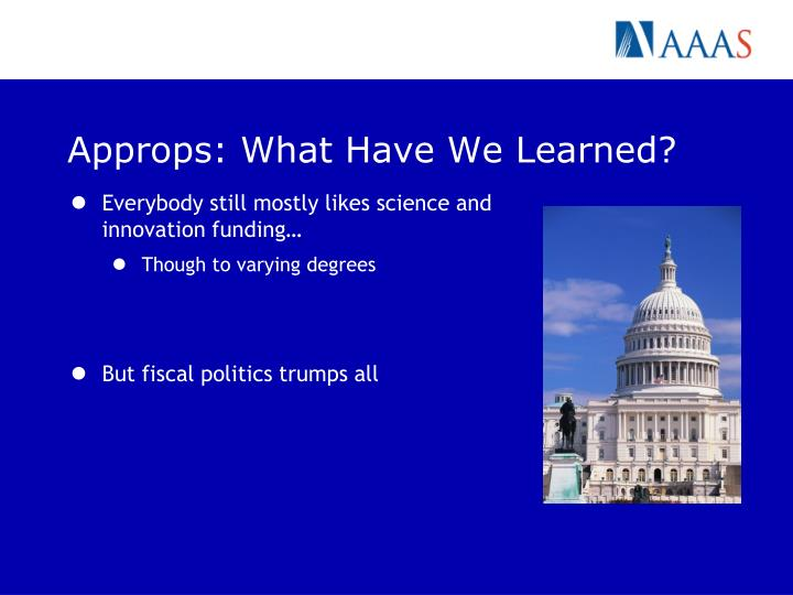 Approps: What Have We Learned?