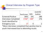 clinical interview by program type