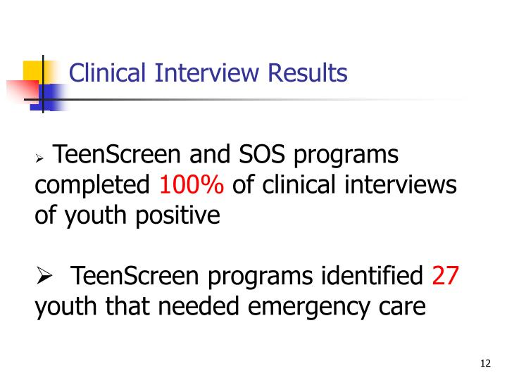 Clinical Interview Results