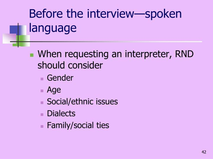 Before the interview—spoken language