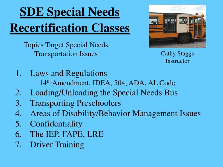 SDE Special Needs