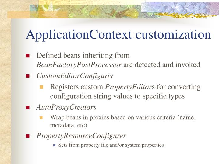 ApplicationContext customization