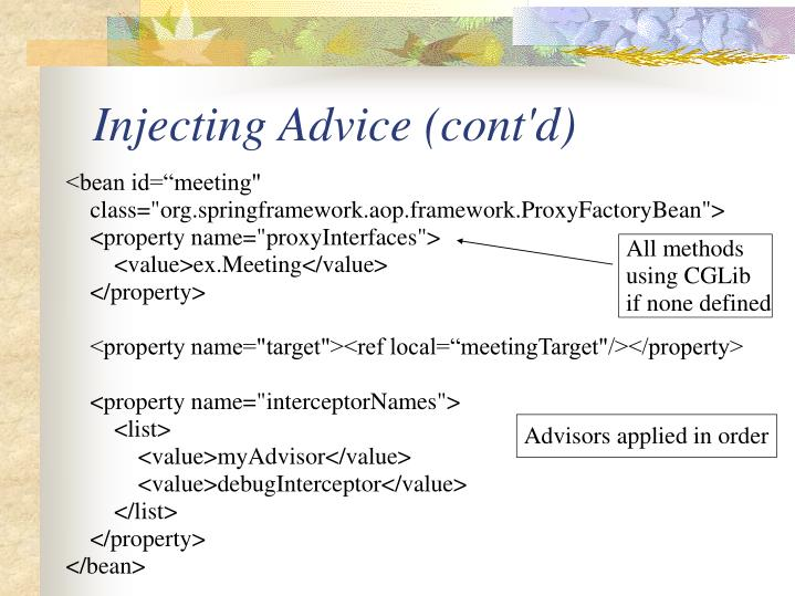 Injecting Advice (cont'd)