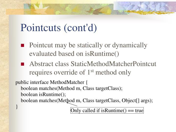 Pointcuts (cont'd)