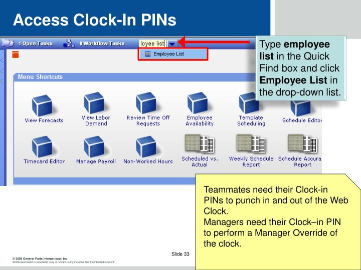 Access Clock-In PINs