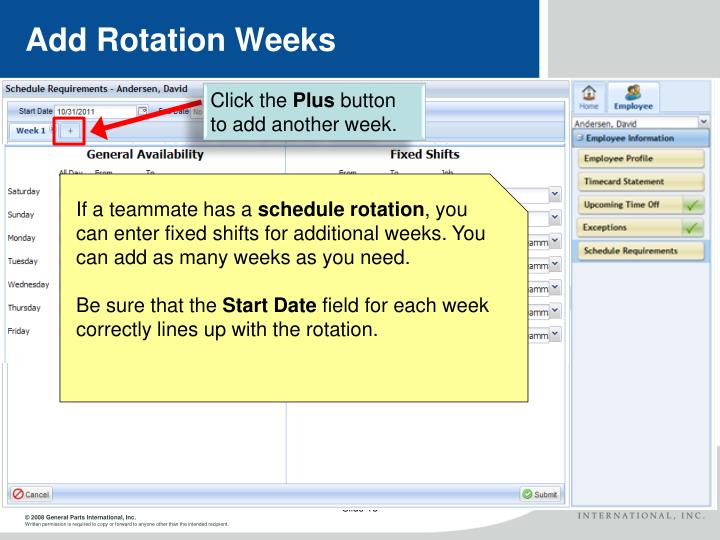 Add Rotation Weeks