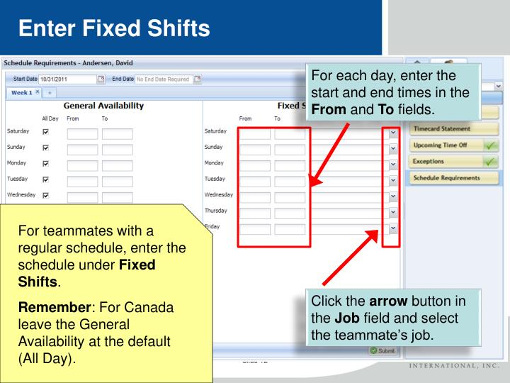 Enter Fixed Shifts