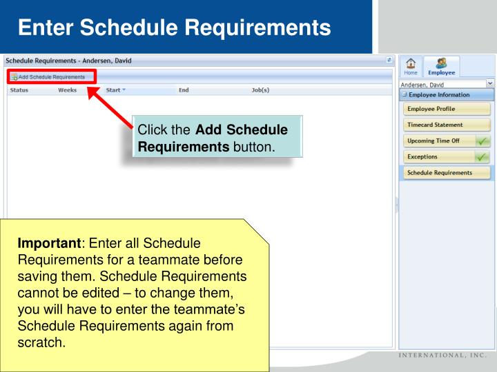 Enter Schedule Requirements